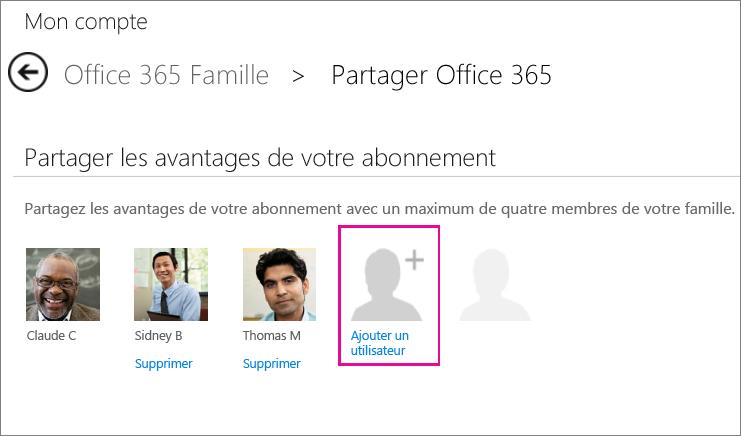 Capture d'écran de la page Partager Office365 avec l'option «Ajouter un utilisateur» sélectionnée.