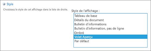 Choix des styles dans la page Paramètres d'affichage