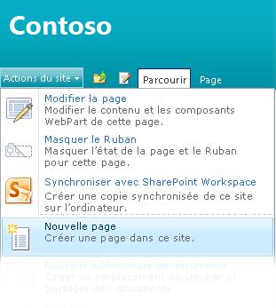 Option Nouvelle page dans le menu Actions du site