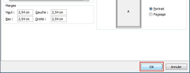 Click OK to apply the Page Setup settings.
