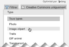Ouvrez le Filtre, puis sous Type, sélectionnez images Clipart