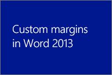 Marges personnalisées dans Word2013