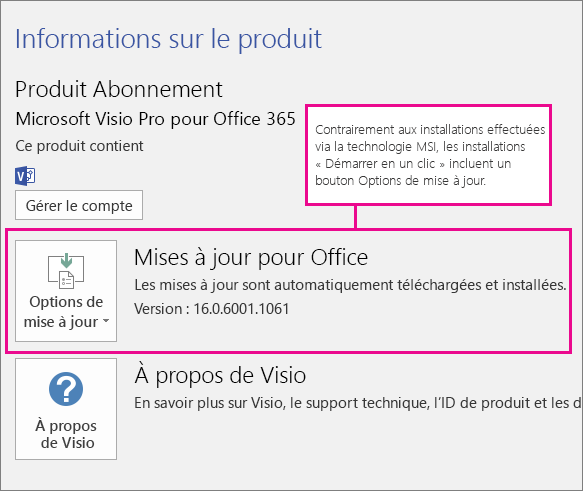 Les installations utilisant la technologie «Démarrer en un clic» incluent un bouton Options de mise à jour dans la page Compte. Aucun bouton n'est disponible pour les installations effectuées via la technologie MSI.