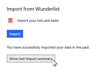 Pour effectuer des paramètres avec l'option Afficher la dernière synthèse de l'importation sélectionnée
