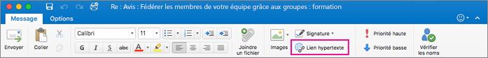 Bouton Lien hypertexte sur le ruban d'Outlook pour Mac