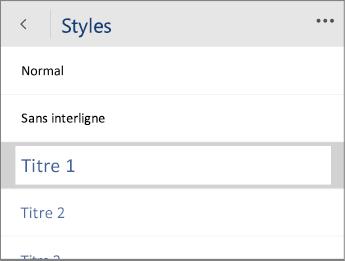Capture d'écran du menu Styles dans Word Mobile avec l'option Titre 1 sélectionnée