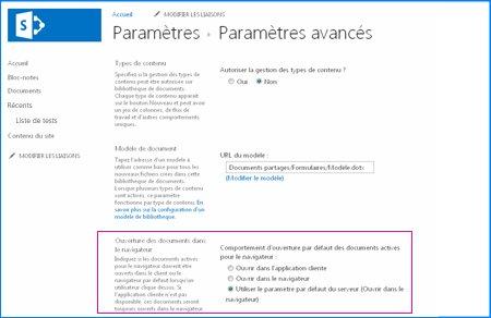 Capture d'écran de la page Paramètres avancés d'une bibliothèque de documents dans SharePoint