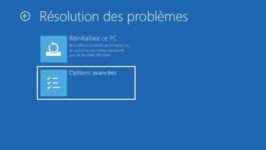 Écran Dépanner dans l'Environnement de récupération Windows (WinRE).