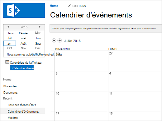 Exemple d'une application de la liste Calendrier.