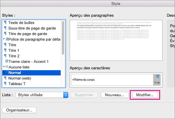 Cliquez sur Modifier pour apporter des modifications au style sélectionné.