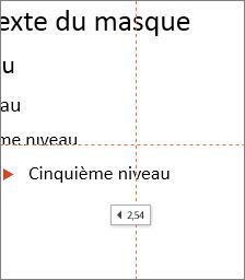 Une étiquette indique la distance jusqu'au centre de la diapositive