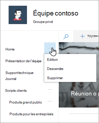Option d'édition dans le menu de navigation lancement rapide