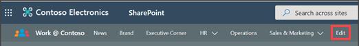 Image d'une barre de navigation avec l'icône «modifier» mise en évidence