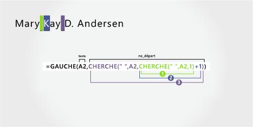 Formule pour séparer un prénom, un second prénom, une initiale au milieu et le nom de famille