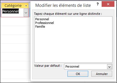 Boîte de dialogue Modifier les éléments de liste dans un formulaire Access