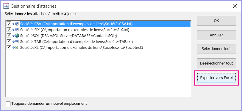 Boîte de dialogue Gestionnaire d'attaches dans Access avec le bouton Exporter vers Excel sélectionné.