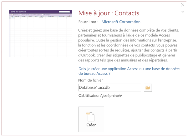 Capture d'écran de l'interface de la liste de contacts