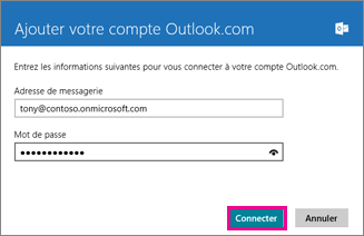 Page Ajouter votre compte Outlook de l'application Courrier de Windows 8