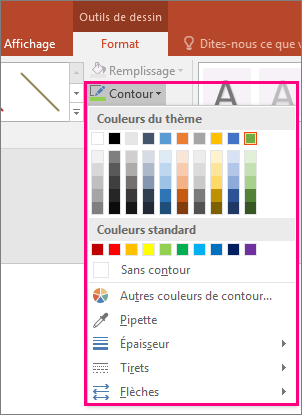 Options de couleur de trait dans Office