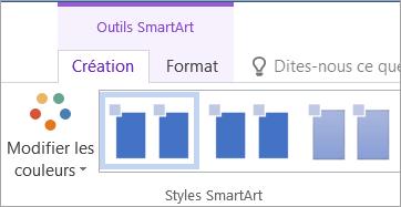 Bouton Modifier les couleurs sous l'onglet Outils SmartArt - Création