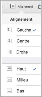 menu d'alignement du texte iPad