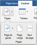 Options du menu de Pages