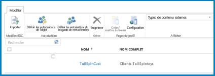 Capture d'écran du ruban dans l'affichage Type de contenu externe BCS standard.
