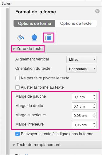 Options de zone de texte mises en évidence dans le volet Format de la forme
