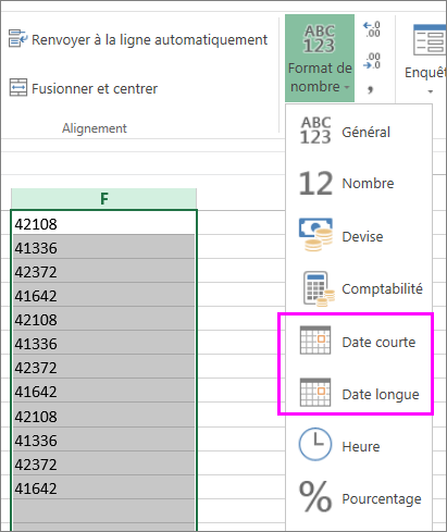 Colonne de dates au format texte