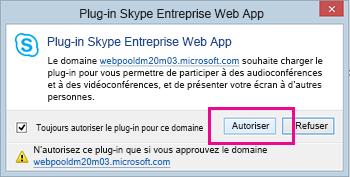 Approuver le domaine du plug-in Skype Entreprise Web App