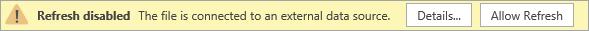 Message d'alerte signalant que l'actualisation est désactivée dans Visio Online Public Preview.