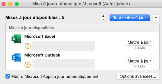 Image du tableau de bord Microsoft AutoUpdate avec les informations sur les mises à jour.
