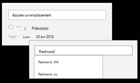 Ajouter un emplacement dans le composant WebPart météo