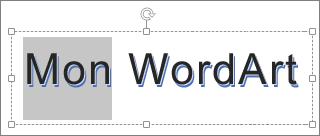 Partie du texte WordArt sélectionnée