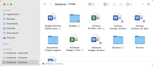 OneDrive dossiers sont affichés sous « Emplacements » dans le volet gauche.