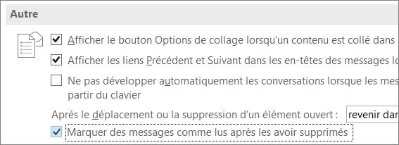 Case à cocher Marquer les messages comme lus lors de leur suppression de la boîte de dialogue Options d'Outlook