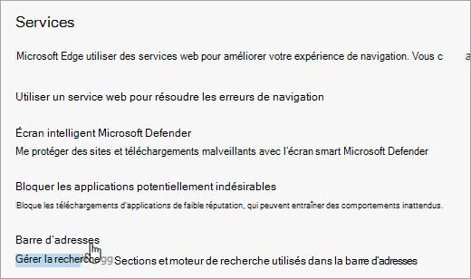 Capture d'écran de la barre d'adresse dans les paramètres Confidentialité et Services