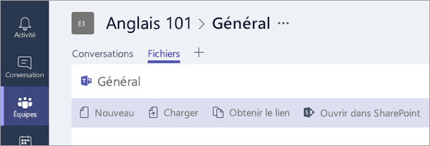Créez des fichiers dans l'onglet Fichiers.