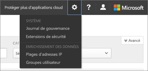 Dans la sécurité de l'application O365 Cloud, choisissez Paramètres pour accéder à vos paramètres système et des données
