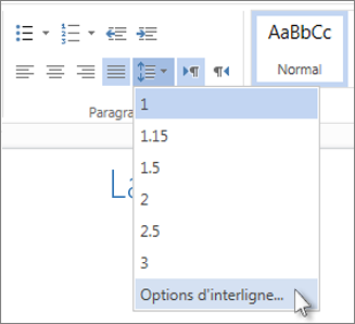 Menu Interligne dans Word Web App