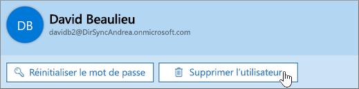 Supprimer l'utilisateur