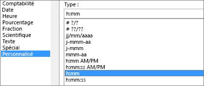 Boîte de dialogue Format de cellule, commande personnalisée, type h:mm