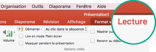 Quand une vidéo est sélectionnée sur une diapositive, un onglet Lecture s'affiche dans le ruban de barre d'outils, qui vous permet de définir les options de lecture vidéo.
