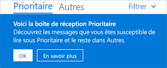 Image de la boîte de réception Prioritaire lorsqu'un utilisateur ouvre Outlook sur le web pour la première fois.