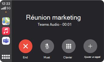 Image montrant une réunion en réunion Teams l'aide d'Apple CarPlay.