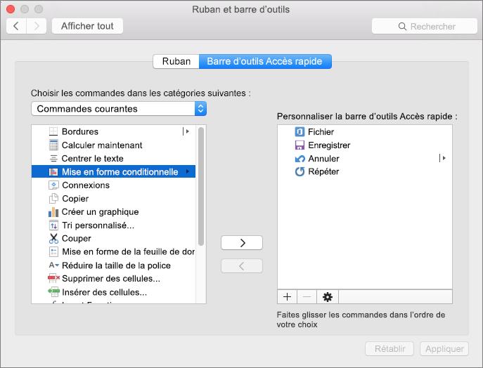 Office2016 pour Mac Personnaliser QAT
