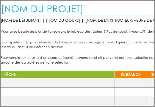 Ancien modèle Liste des tâches de projet avec une police minimale de 8,5points.