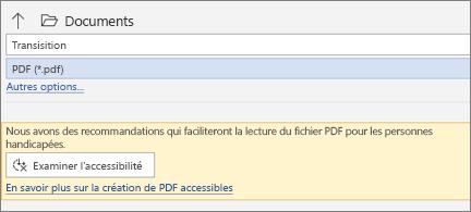 Boîte de dialogue Enregistrer en tant que PDF avec une zone de message jaune vous invitant à vérifier l'accessibilité de votre fichier PDF avant de l'enregistrer