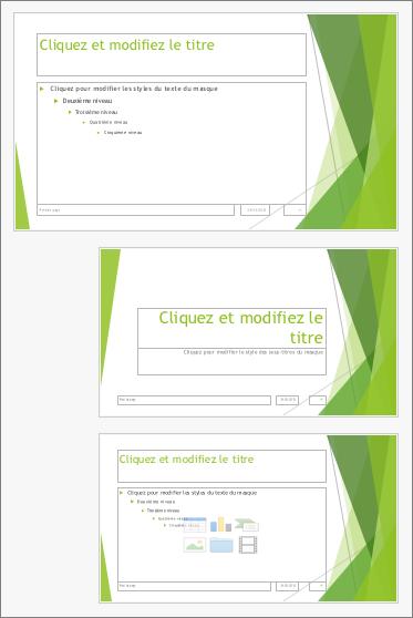 Masque avec deux mises en page des diapositives