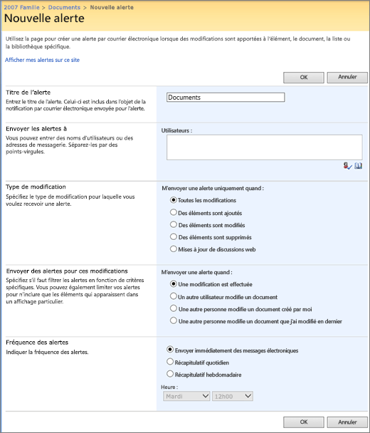 Page d'options SharePoint 2007 alerte